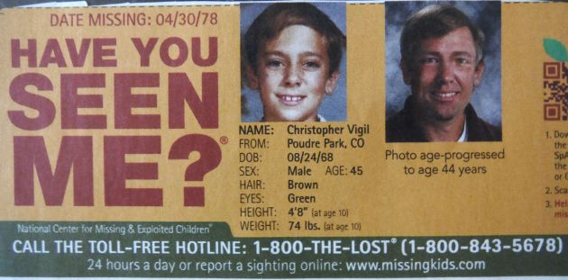 Have You Seen Me? - Christopher Vigil - Poudre Park, CO - Missing Since 4/30/78