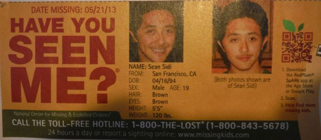 Have You Seen Me? - Sean Sidi -  Francisco, CA - Missing Since 5/21/13