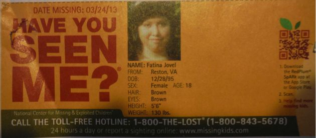 Have You Seen Me? - Fatina Jovel - Reston, VA - Missing Since 03/24/13