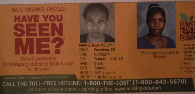Have You Seen Me? - Irene Kouame - Pasadena, CA - Missing Since 8/23/01