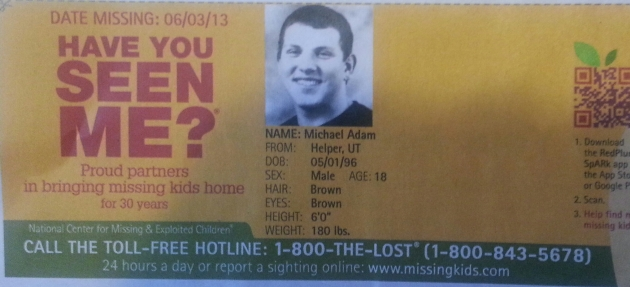 Have You Seen Me? - Michael Adam - Helper, UT - Missing Since 06/03/13