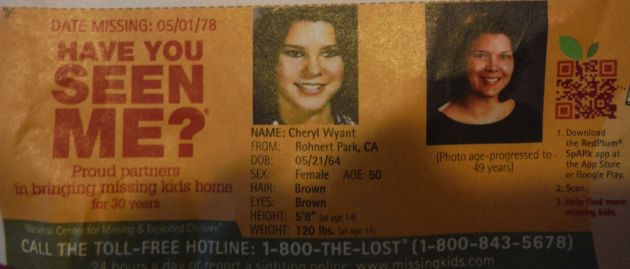 Have You Seen Me? - Cheryl Wyant - Rohnert Park, CA - Missing Since 05/01/78