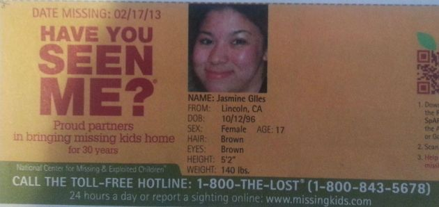 Have You Seen Me? - Jasmine Giles - Lincoln, CA - Missing Since 02/17/13