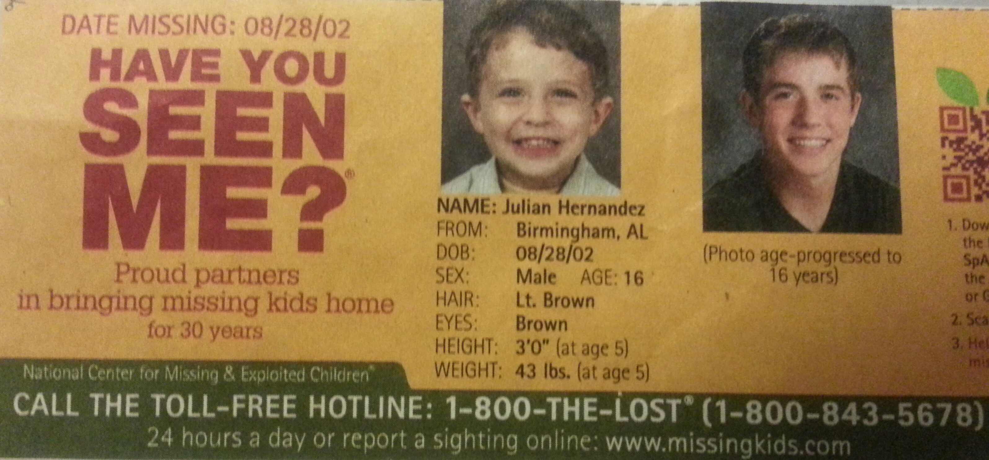 Ohio College Application Leads Feds to Alabama Boy Abducted in 2002 (see poster)