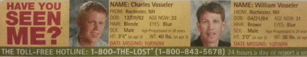 Have You Seen Me? - Charles Vosseler & William Vosseler - Rochester, NH - Missing Since 10/9/86