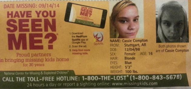Have You Seen Me? - Cassie Compton - Stuttgart, AR - Missing Since 9/14/14