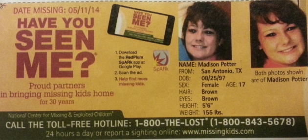 Have You Seen Me? - Madison Potter - San Antonio, TX - Missing Since 5/11/14