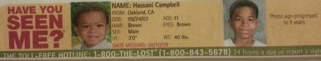 Have You Seen Me? - Hassani Campbell - Oakland, CA - Missing Since 8/10/09