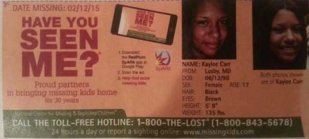 Have You Seen Me? - Kaylee Carr - Lusby, MD - Missing Since 2/12/15