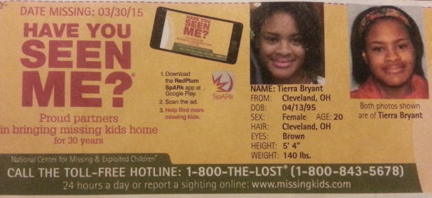 Have You Seen Me? - Tierra Bryant - Cleveland, OH - Missing Since 3/30/15