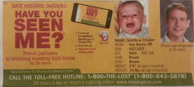 Have You Seen Me? - Matthew Crocker - Van Buren, AR - Missing Since 6/9/83