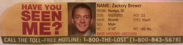 Have You Seen Me? - Zackery Brewer - Nampa, ID - Missing Since 8/22/09