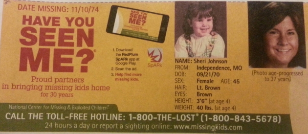 Have You Seen Me? - Sheri Johnson - Independence, MO - Missing Since 11/10/74