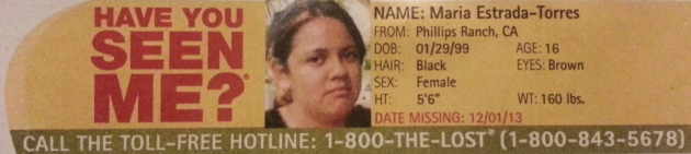 Have You Seen Me? - Maria Estrada-Torres - Phillips Ranch, CA - Missing Since 12/1/13