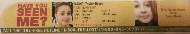 Have You Seen Me? - Taylor Reyes - Buffalo, NY - Missing Since 5/3/15