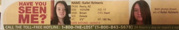 Have You Seen Me? - Kaibri Kelmeris - Peoria, AZ - Missing Since 4/20/15