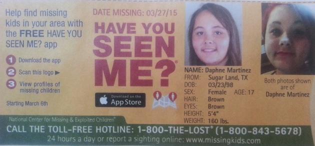 Have You Seen Me? - Daphne Martinez - Sugar Land, TX - Missing Since 3/27/154