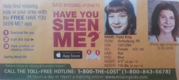 Have You Seen Me? - Tracy King - Gettysburg, PA - Missing Since 7/8/75