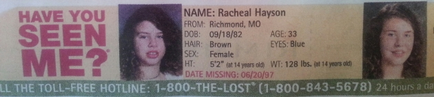 Have You Seen Me? - Racheal Hayson - Richmond, MO - Missing Since 6/20/97