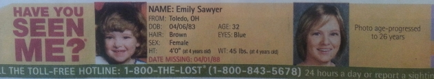 Have You Seen Me? - Emily Sawyer - Toledo, OH - Missing Since 4/1/88
