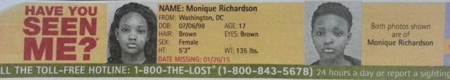 Have You Seen Me? - Monique Richardson - Washington, DC - Missing Since 1/26/15