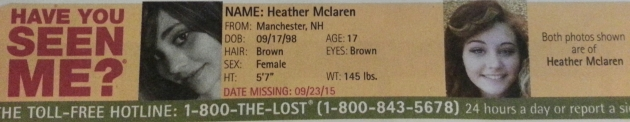 Have You Seen Me? - Heather Mclaren - Manchester, NH - Missing Since 9/23/15