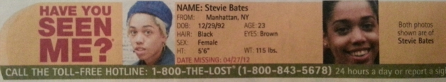 Have You Seen Me? - Stevie Bates - Manhattan, NY - Missing Since 4/27/12