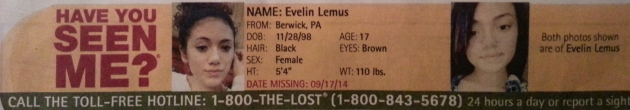 Have You Seen Me? - Evelin Lemus - Berwick, PA - Missing Since 9/17/14
