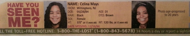 Have You Seen Me? - Celina Mays - Willingboro, NJ - Missing Since 12/16/96